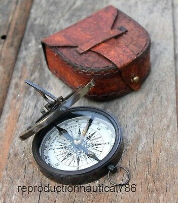 Handmade Nautical Style Antique Brass Sundial Compass With Leather Case Decor