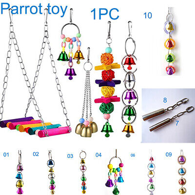 1PC Pet Bird Bell Toy Chew Parrot Ring Hanging Swing Cage Cockatiel Parakeet Toy