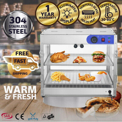 Commercial Pie Food Warmer Hot Display Showcase Cabinet 2 Tier Stainless Steel