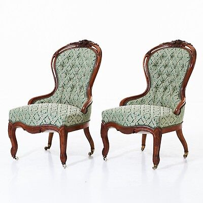 Pair Of 19th Century French Armchairs walnut, cut decor