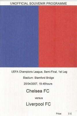 CHELSEA v LIVERPOOL   2006/07  UEFA CHAMPIONS LEAGUE SEMI FINAL Unofficial issue