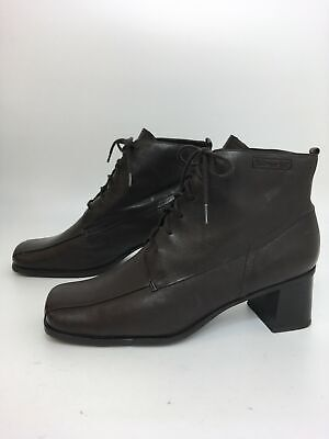 Womens Tamaris Brown Leather Lace Up Block Heel Smart Ankle Boots Uk 8 Eu 41
