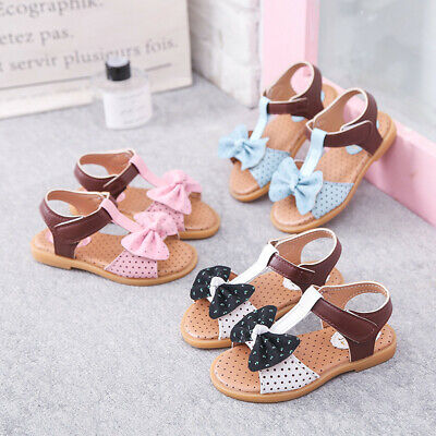 Children Toddler Kids Baby Girls Summer Bow-Knot Single Princess Shoes Sandals