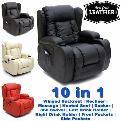 Panana 10 In 1 Winged Leather Recliner Chair Rocking Massage Swivel Heated