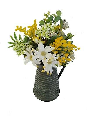 Flower Arrangement in Vintage Tin Jug - Artificial Australian Native Flowers