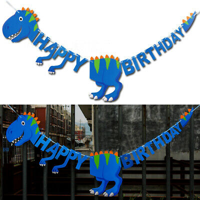 Dinosaur Happy Birthday Paper Banner Hanging Bunting Party Decoration Garland A