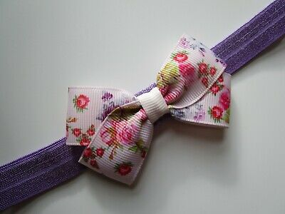 Baby Girl Bow Headband Hair Band 0-6 Months Floral Rose Hair Accessories Made UK