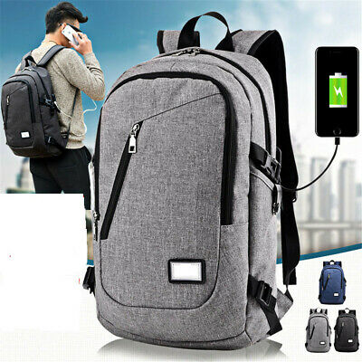Anti-theft Mens USB with Charger Port Backpack Laptop Notebook Travel School Bag