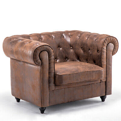 Retro Distressed Leather Buttoned Design Accent Armchair Tub Business Style Sofa