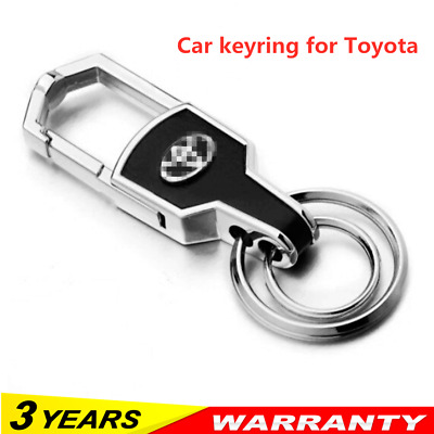 Hot Double Ring Car Logo Metal Leather Key chains Silver keyring for Toyota