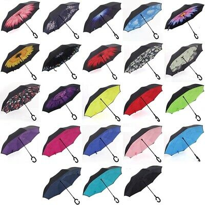 AU Double Layer Upside Down Inverted Umbrella C-handle Reverse-Design Windproof