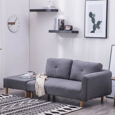 Scandi 2/3 Seater Fabric Accent Small Sofas Compact Footstool Cozy Relax Couch