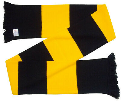 Wolves Supporters Black and Gold Retro Bar Scarf - Made in the UK