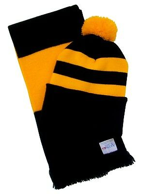 Wolves Supporters Black and Gold, Scarf and Hat Set - Made in the UK