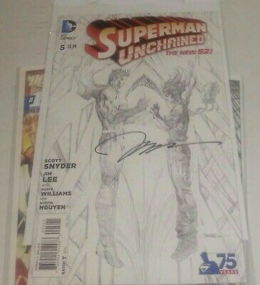 DC Comics Superman Unchained #5 1:300 signed Jim Lee sketch Variant NM