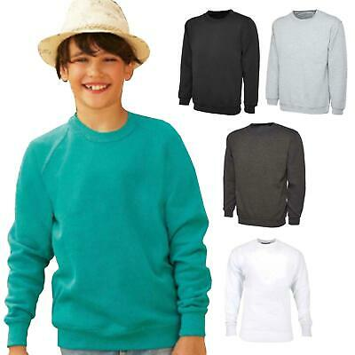 Kids Boys Girls Long Sleeve Raglan Fleece Sweatshirt School Jumper Sweater Tops