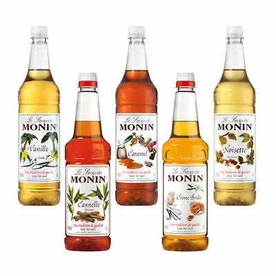 Monin 1 Litre Coffee Syrup Bottles - Many Flavours - As Used By Costa Coffee!