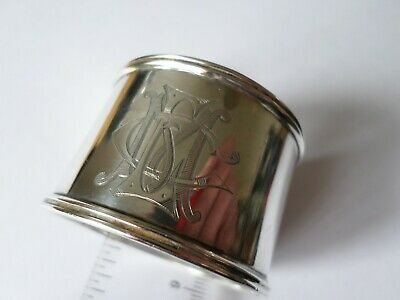 Antique hallmarked 1893 sterling silver napkin ring - 31.7 grams name puzzle