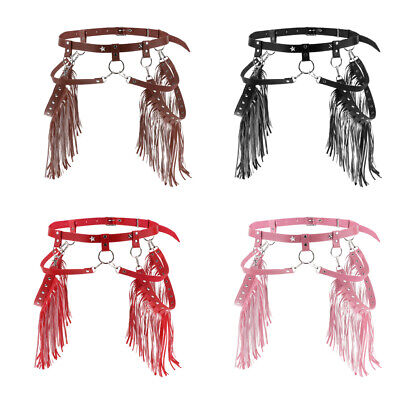 Adjustable PU Leather Body Harness Belt, Punk Style with Tassels 4Color
