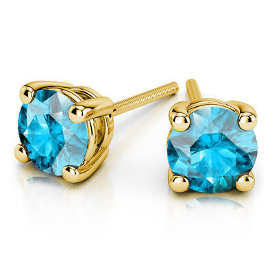 2.00 Ct Round Cut Solitaire Aquamarine Earring Stud 14K Real Yellow Gold Studs