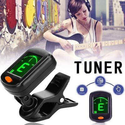 Clip-On Guitar Tuner Chromatic Electric Acoustic Bass Chord Finder Ukulele LCD