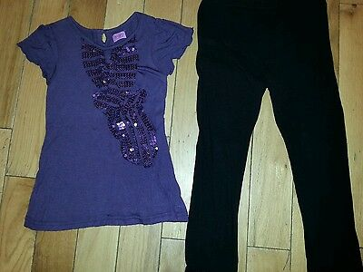 Brand New Girls F&F Party T Shirt with Matching Black Leggings 6-7 years