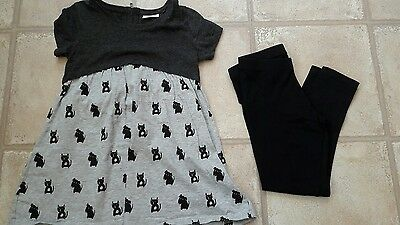 Girls Cute Cat and Dog Next Leggings and Top Set Age 8 VGC