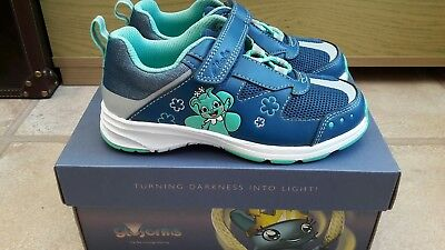 Brand New Girls Clarks Blue Leather Trainers 12F Reflect Ice Inf