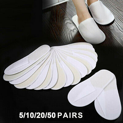 Spa Guest Slippers Open Toe Terry Cloth Disposable #HF8 5 Pairs Hotel Guest