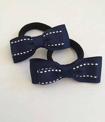 Pair Of Navy With Stripe Combination Hair bow bobbles/School Uniform/acc