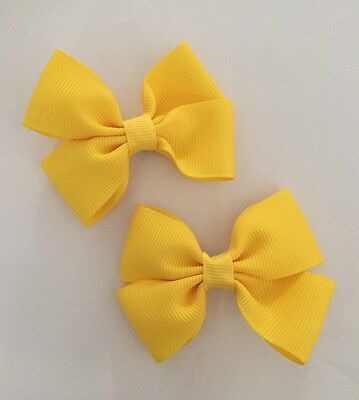 2 Packs Of Yellow Butter Big Bow Hair Clips/aligator Clip/schools Uniform