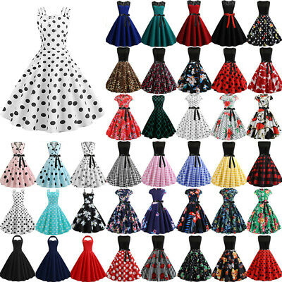 UK Womens Pinup  Vintage 1950s 60s Rockabilly Evening Prom Swing Dress Plus Size