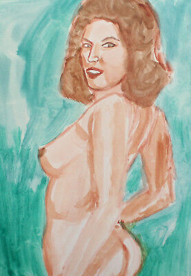 Original Vintage Watercolor Painting Expressionist Nude Female Portrait