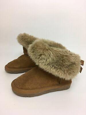 Girls Childrens Next Tan Brown Suede Faux Fur Trim Bow Back Ankle Boots Uk 9 C