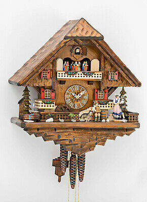 Black Forest 45cm Musical Mechanica Cuckoo Clock Revolving Dancers & Waterwheel
