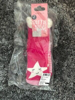 Softie Socks By Joules Pink Star Girl's Terry 2 Pack