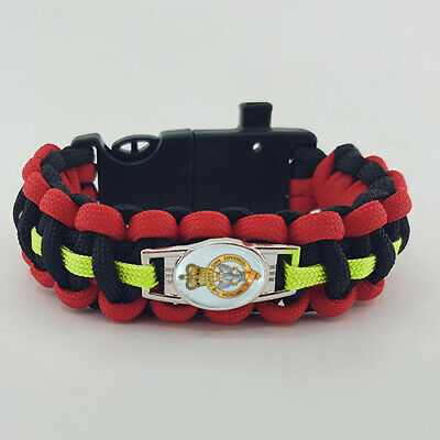 Queens Own Mercian Yeomanry (QOMY) Badged Survival Bracelet Royal Fusiliers Gift