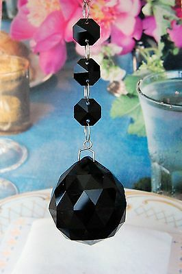 Set of 2 Black - Lead Glass Crystal - 40mm Crystal Ball - Chandelier Pedants