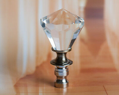 "SET OF 2 LEAD GLASS CRYSTAL DIAMOND - LAMP SHADE FINIAL - 2-1/2"" Tall"