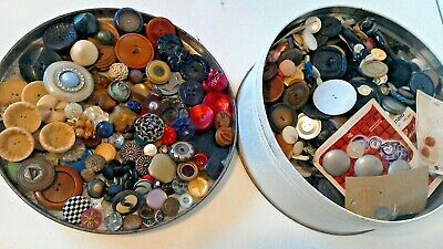 Vintage Button Collection Unsearched Estate Lot Tin Sold As Found OVER 6 lbs W@W