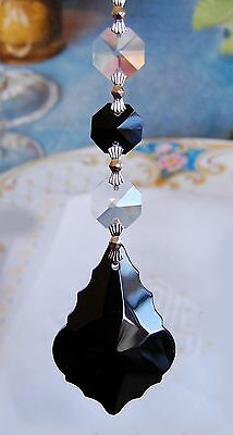 Set of 5 Chandelier Prisms Pedants - 50 mm Black French Cut Glass Crystal