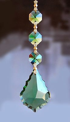 Set of 5 Chandelier Prisms Pedants - 50 mm Green French Cut Glass Crystal