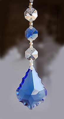 Set of 5 Chandelier Prisms Pedants - 50 mm Blue French Cut Glass Crystal