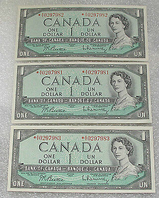 1954 Bank of Canada 3 x $1 dollar *BC-37bA consecutive serial # A/Y prefix UNC