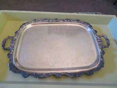 Large Poole Silverplate Hollowware Waiter Tray Old English Footed w/Handles~27""