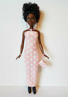 PETITE Body BARBIE DOLL CLOTHES pink Dress, Purse & Jewelry Fashion NO DOLL d4e
