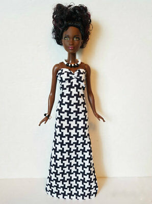 PETITE Body BARBIE DOLL CLOTHES Geometric Gown & Jewelry Fashion NO DOLL d4e