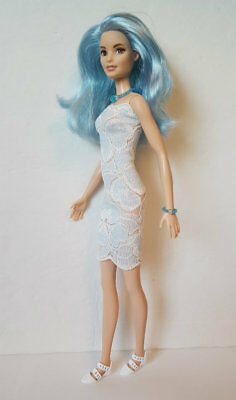 TALL Body BARBIE DOLL CLOTHES Lace DRESS + JEWELRY Handmade Fashion NO DOLL d4e