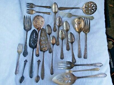 Antique Vintage 23 Pc Lot  Silverplated Flatware ROLEX, PIE SERVERS. MUST SEE