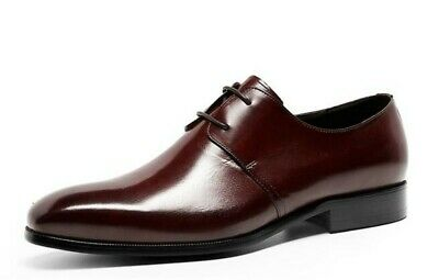 Business Leisure Mens Square Toe Real Leather Formal Block Oxfords Shoes Stylish